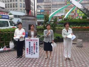 蒲田駅前で宣伝する区議団