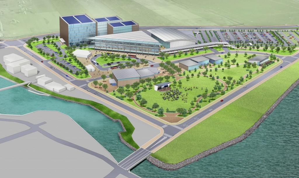 羽田空港跡地の開発計画、「産業交流施設」「おもてなしエントランス」「多目的ホール・会議室」「公園」などの整備計画(大田区が国の第7回東京都都市再生分科会に提出した資料より)